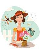 Vector illustration of a gardener.