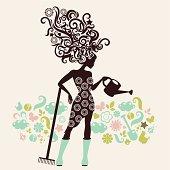 Woman gardener. Eps and hi-res jpg.