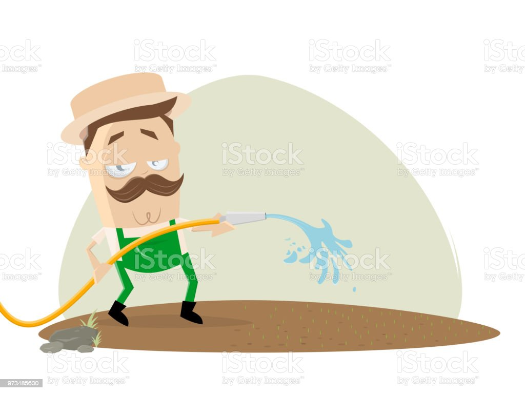 gardener watering the lawn vector art illustration
