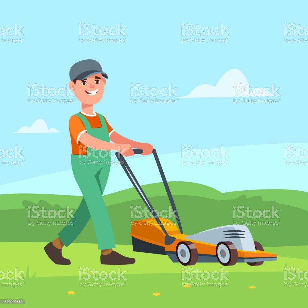 Gärtner mit einem Rasenmäher – Vektorgrafik