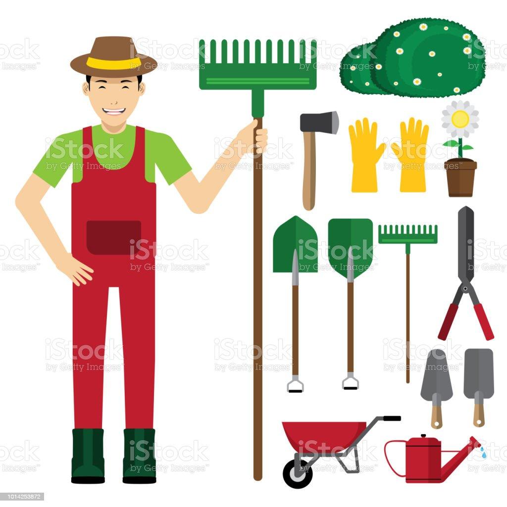 Jardinier Avec Outils De Jardinage – Cliparts vectoriels et plus d ...