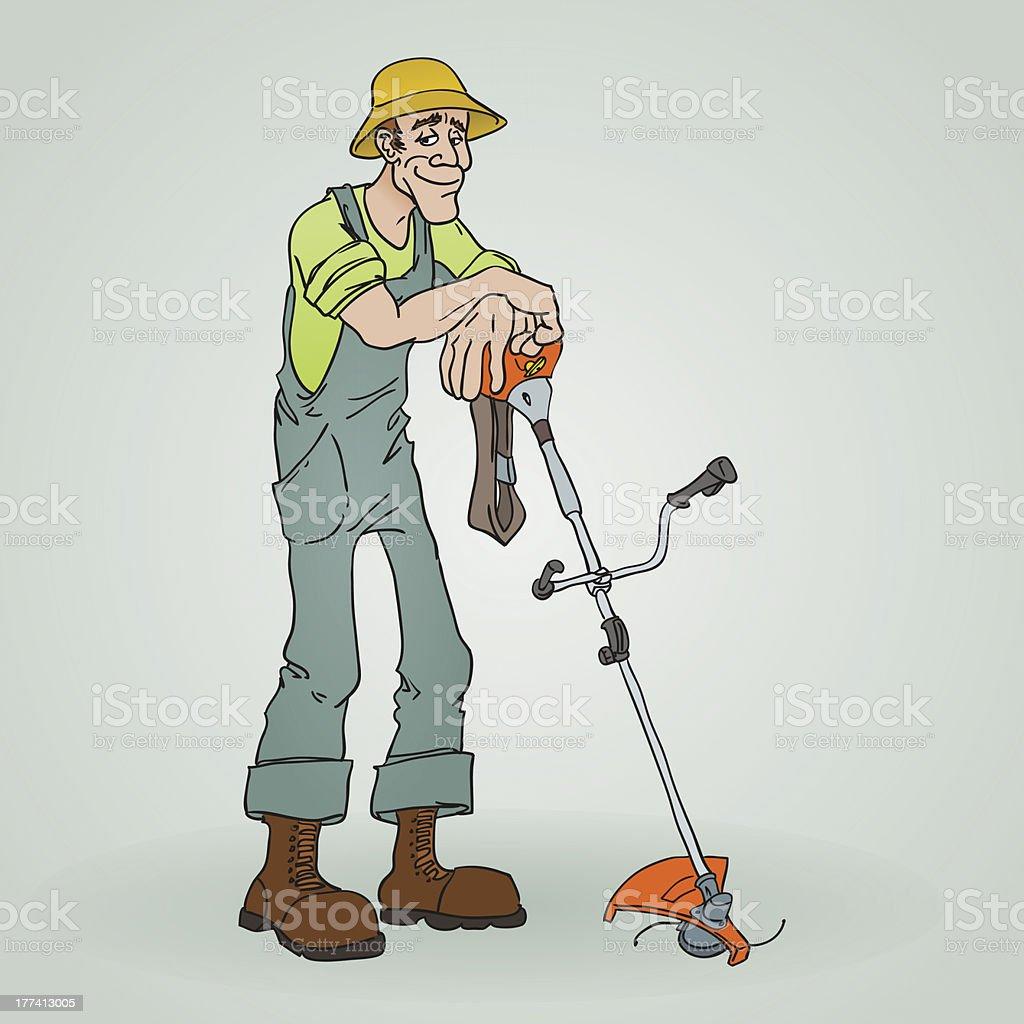 Gardener with Reaper vector art illustration