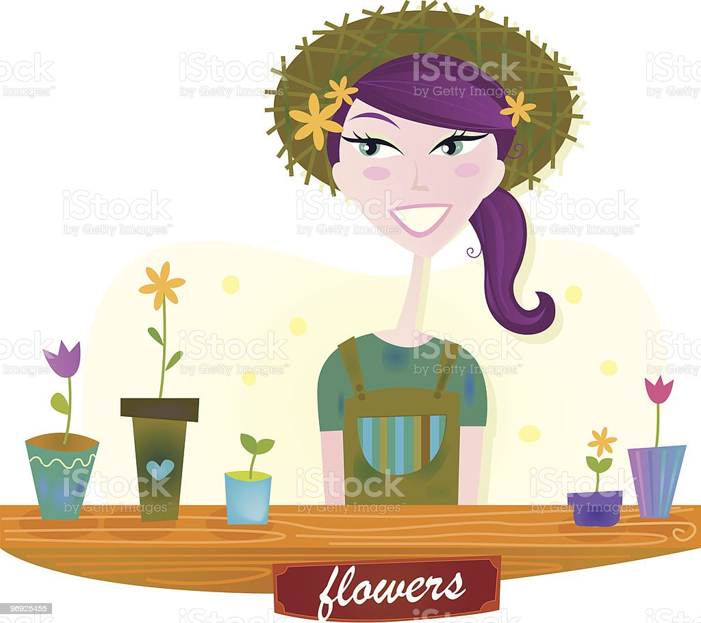 Gardener woman with spring flowers royalty-free gardener woman with spring flowers stock vector art & more images of adult