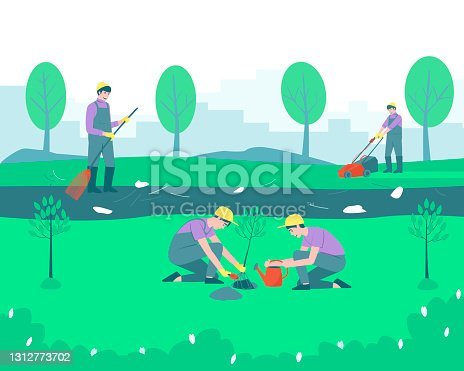 istock Gardeners and volunteers are cleaning the park 1312773702