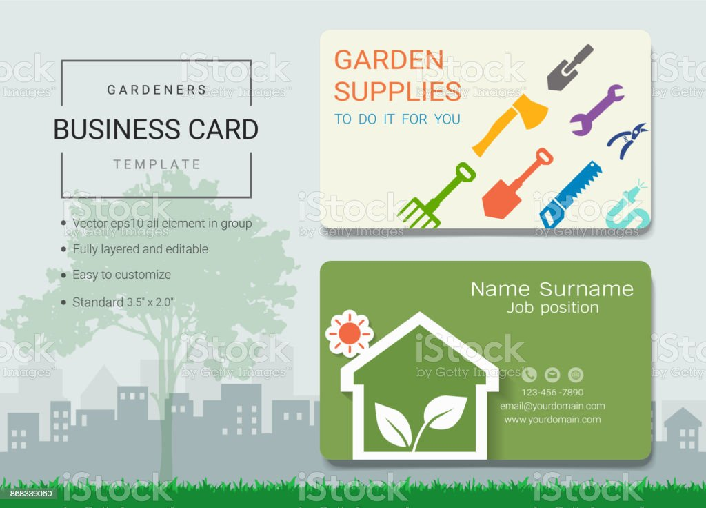 Gardeners business card or name card template simple style also gardeners business card or name card template simple style also modern and elegant with garden reheart Gallery