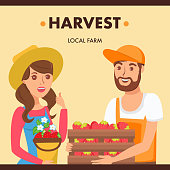 Gardeners Holding Berries Harvest Illustration. Farmers Market Seller and Buyer Cartoon Characters. Woman Selling Organic Strawberries. Man Choosing Fresh Eco Fruits. Local Farm Crop