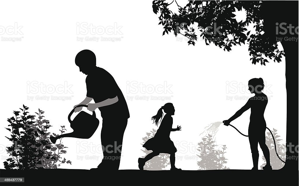 Gardeners Vector Silhouette royalty-free stock vector art