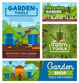 Gardening and farming tools. Garden instruments