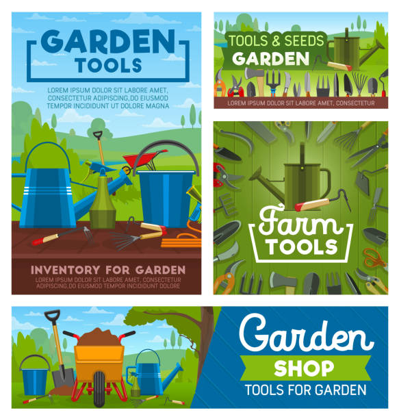 Gardening and farming tools. Garden instruments Tools of garden works and farming. Rake, shovel and watering can, fork, hose and trowel, bucket, axe and saw, spade, pruner and pitchfork. Farming instruments and equipments shop vector design gardening stock illustrations