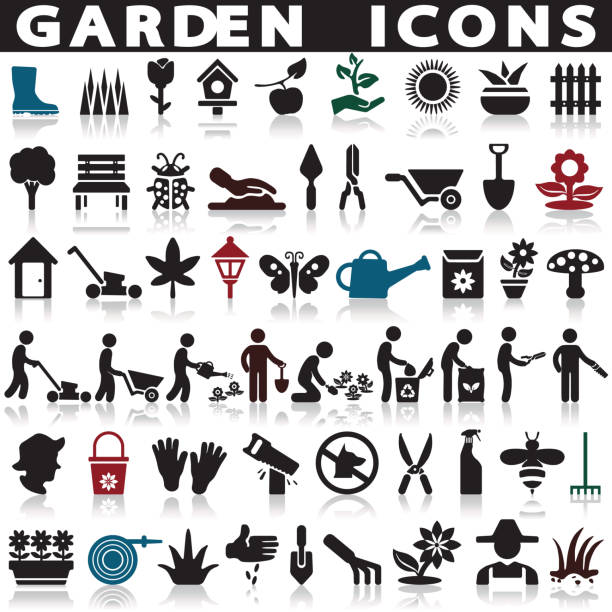 Gardening and farming Gardening and farming vector icons set on a white background with a shadow gardening stock illustrations