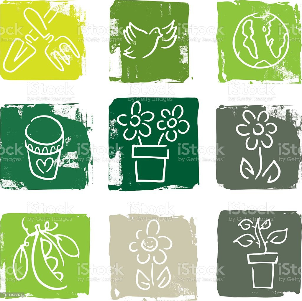 Gardening and Nature icons royalty-free stock vector art