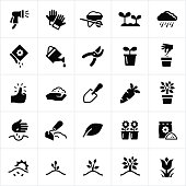 Icons related to gardening and landscaping. The icons symbolize common gardening tools and equipment, plants and planting, and gardening concepts in general.