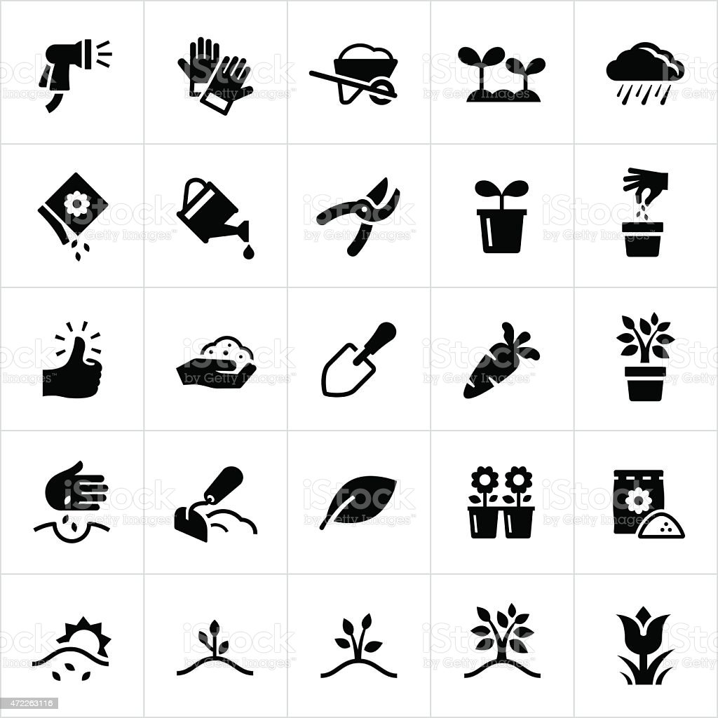 Gardening and Planting Icons vektorkonstillustration