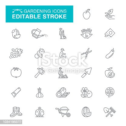Seeding, Grounds, Fence, Picket Fence,Editable Stroke Icon Set