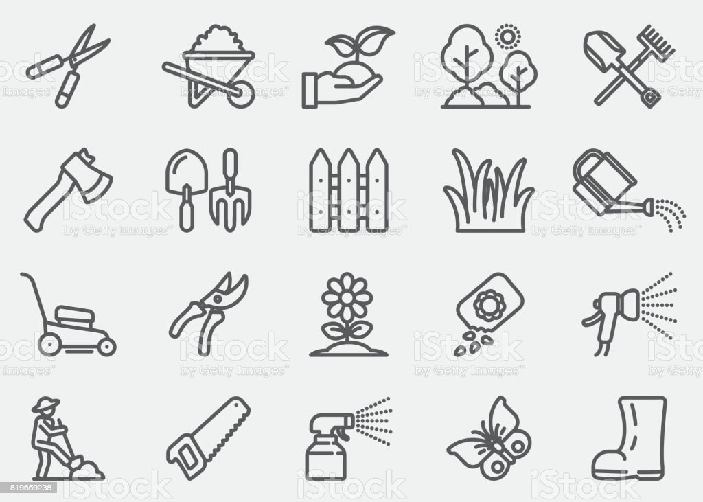Gardening and Seeding Line Icons vector art illustration