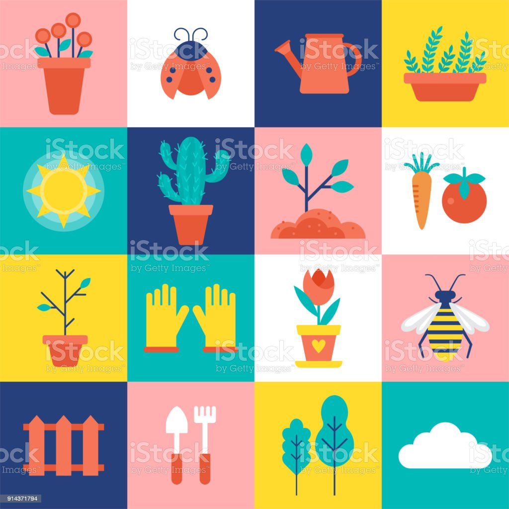 Gardening and spring icons set vector art illustration