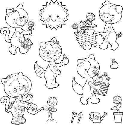 Gardening animal kawaii coloring set