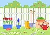 Banner with summer garden landscape. Vector illustration.