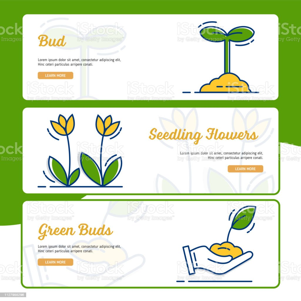 Gardening Banner Collection With Outline Filled Style Stock Illustration Download Image Now Istock