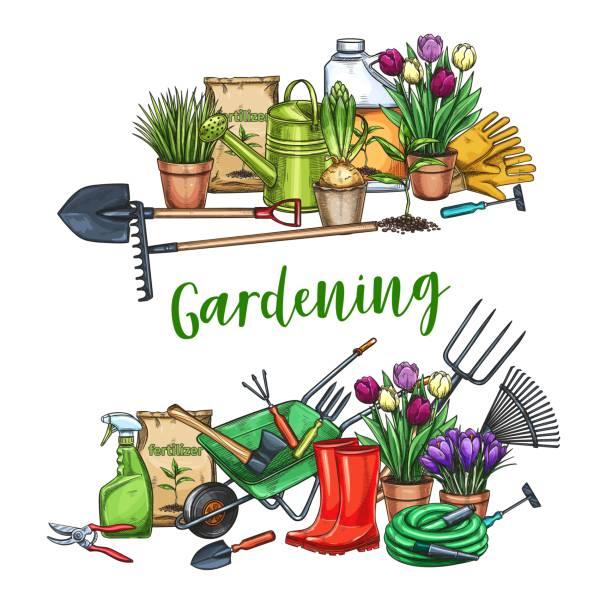 stockillustraties, clipart, cartoons en iconen met tuinieren banner met hulpmiddelen - kruiwagen met gereedschap