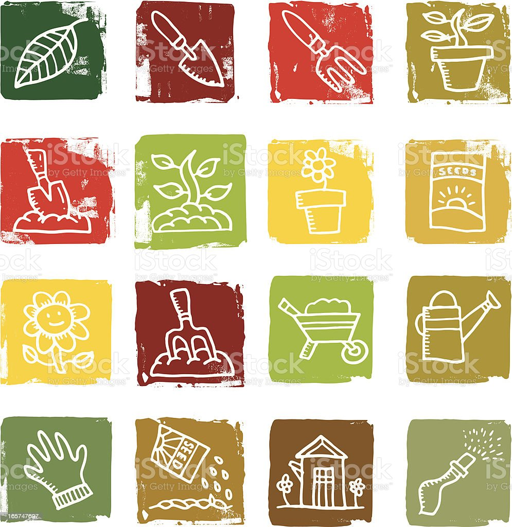 Gardening block icons royalty-free gardening block icons stock vector art & more images of cut out