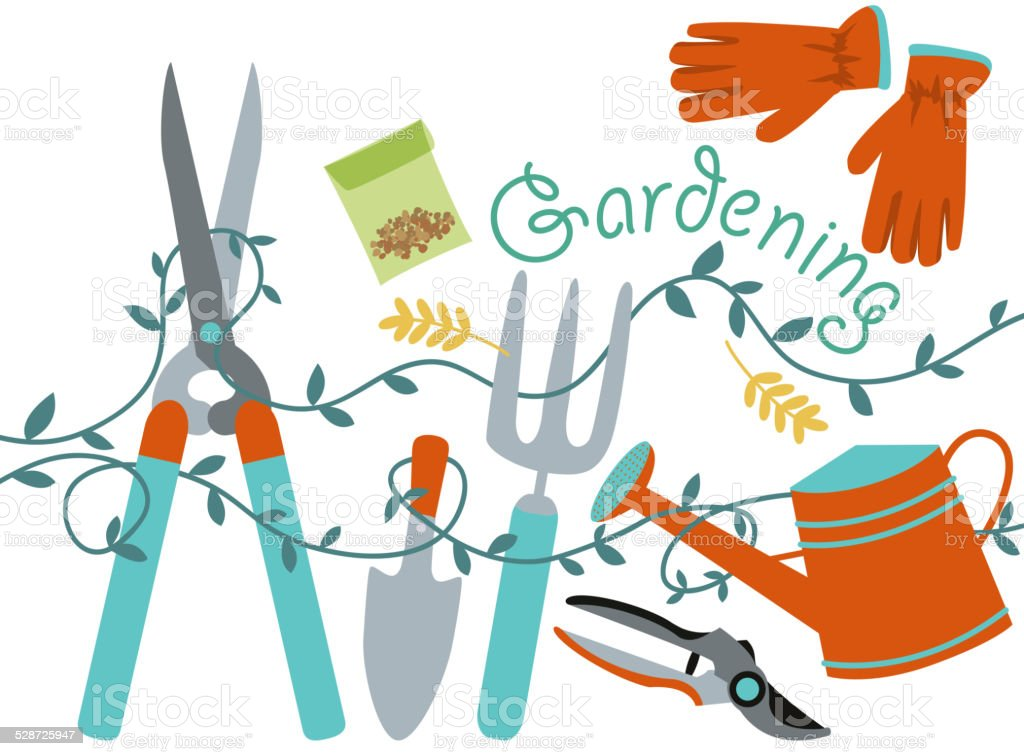 Gardening Design Element vector art illustration