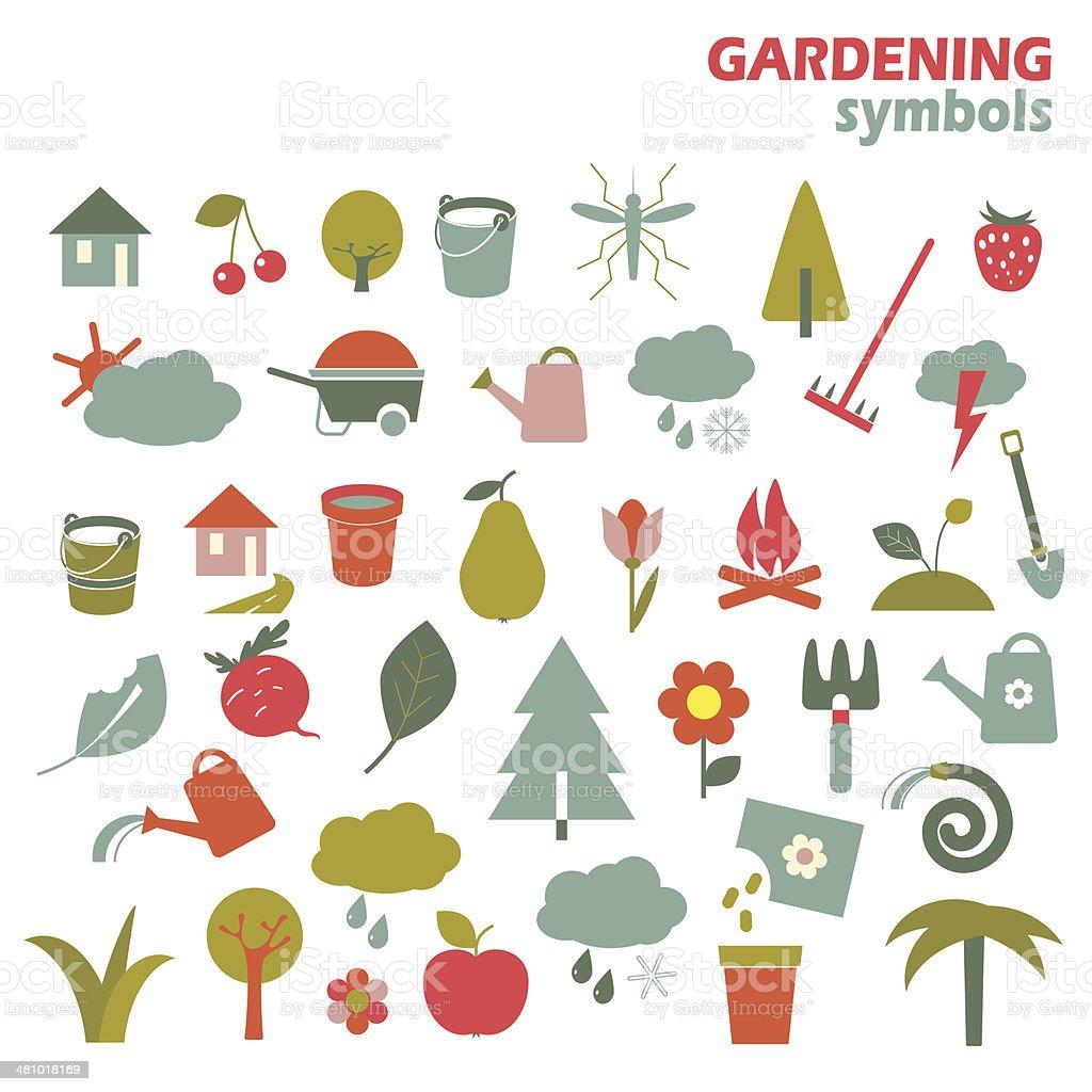 Gardening design elements vector art illustration