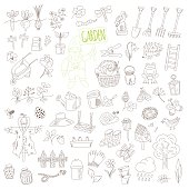 vector set of doodle garden elements isolated on white background. hand drawn illustration for gardening, farming.