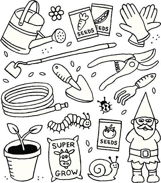 stockillustraties, clipart, cartoons en iconen met gardening doodles - rups