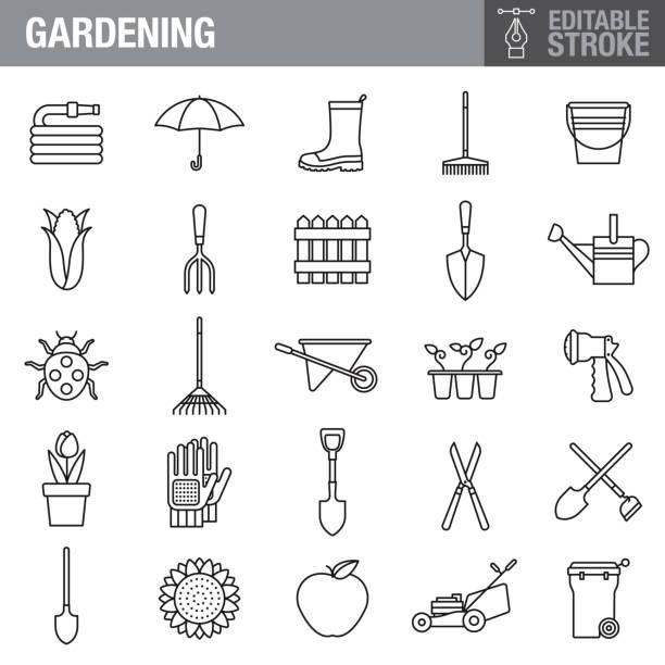 illustrazioni stock, clip art, cartoni animati e icone di tendenza di gardening editable stroke icon set - composting