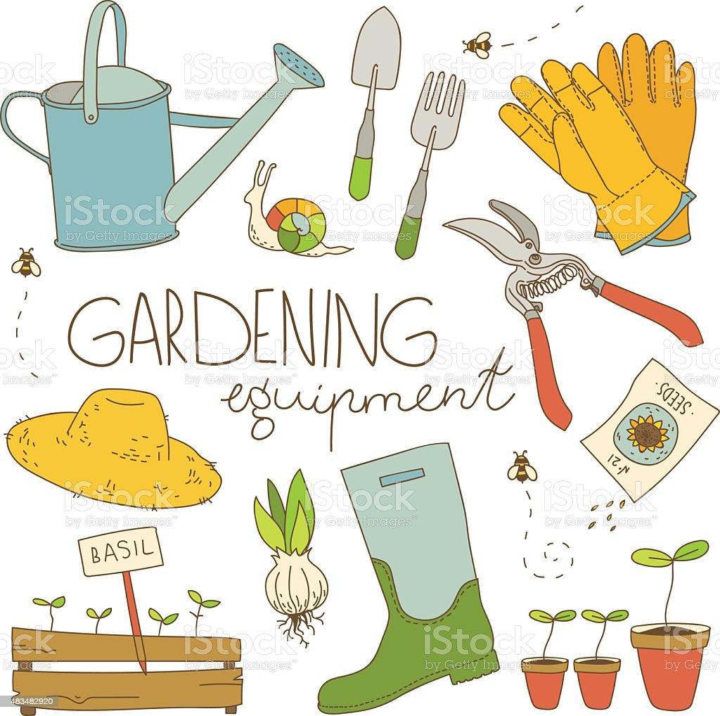 Gardening equipment color illustration vector art illustration