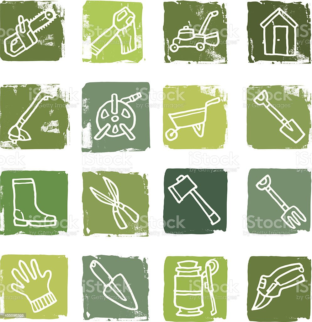 Gardening equipment icon blocks royalty-free stock vector art