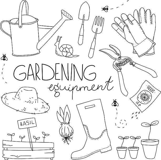 Gardening equipment Vector illustration. Garden tools isolated on white background. garden center stock illustrations