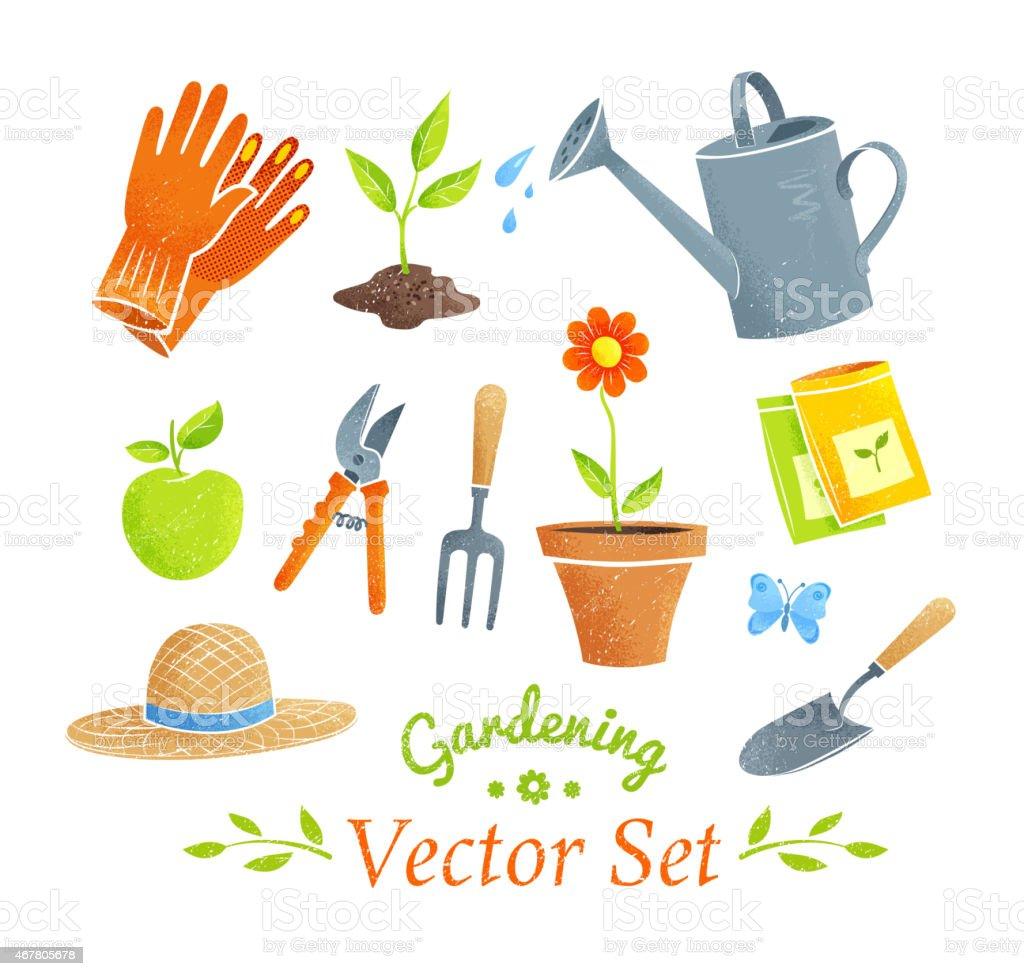 Gardening equipment vector set. vector art illustration