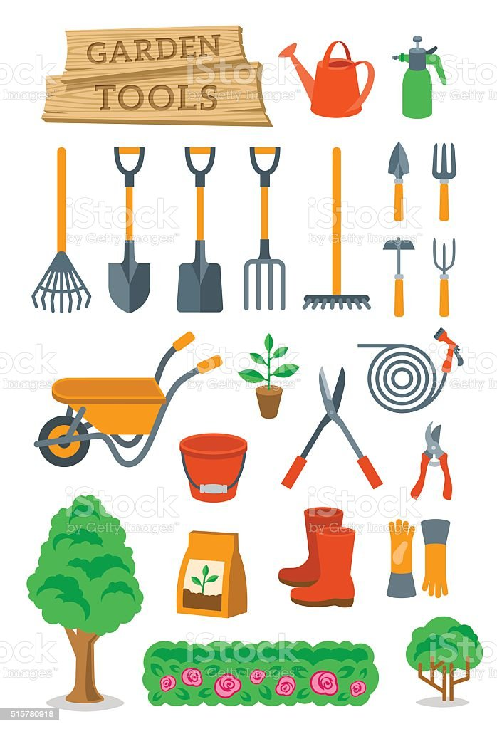 Gardening farming tools and instruments flat vector icons vector art illustration