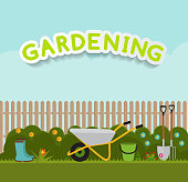 Gardening Flat Background Vector Illustration. Garden Tools, Tre