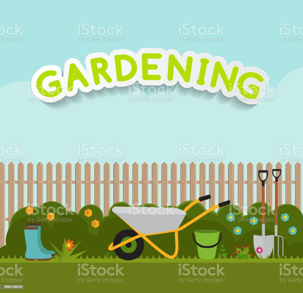 Gardening Flat Background Vector Illustration. Garden Tools, Tre – Vektorgrafik