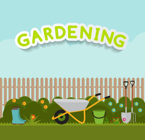 gardening flat background vector illustration. garden tools, tre - garden stock illustrations, clip art, cartoons, & icons