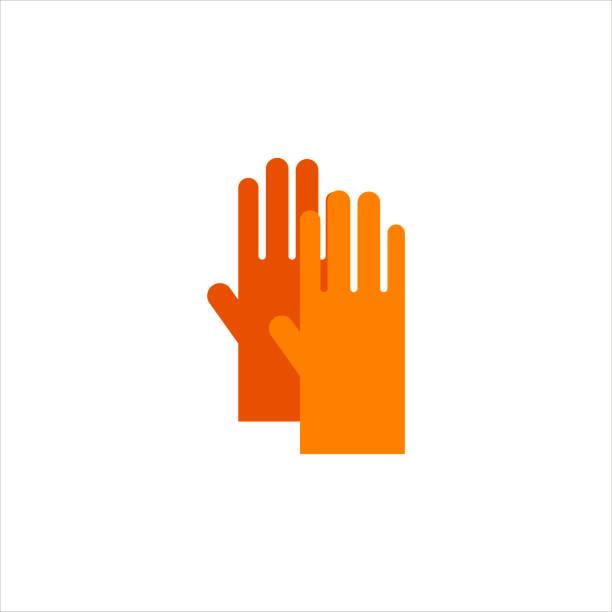 flache gelbe gartenhandschuhe für arbeit isoliert auf weißem hintergrund-vektor-illustration. handschutz landwirtschaft, handschuhe sicherheit - schutzhandschuhe stock-grafiken, -clipart, -cartoons und -symbole