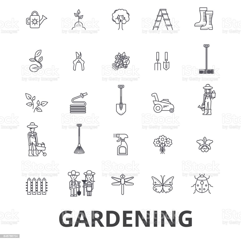 Jardinage, fleur, outils de jardinage, légumes, herbe, paysage, usine, parc, icônes de la limite des arbres. Strokes modifiables. Concept de design plat vector illustration symbole. Linéaires signes isolés - Illustration vectorielle