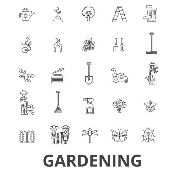 Jardinage, fleur, outils de jardinage, légumes, herbe, paysage, usine, parc, icônes de la limite des arbres. Strokes modifiables. Concept de design plat vector illustration symbole. Linéaires signes isolés - Illustration vectorielle