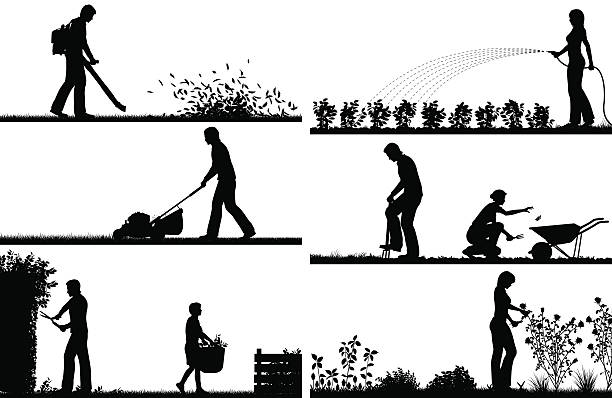 Gardening foreground silhouettes vector art illustration