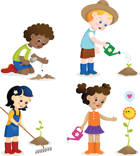 Gardening fun kids vector art illustration