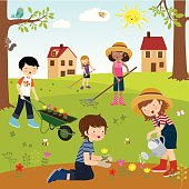 Children working in the garden