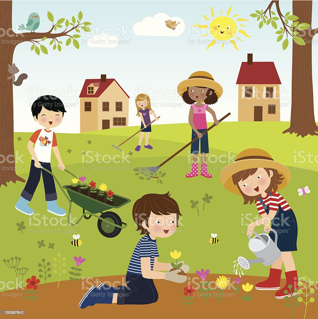 Gardening Fun vector art illustration