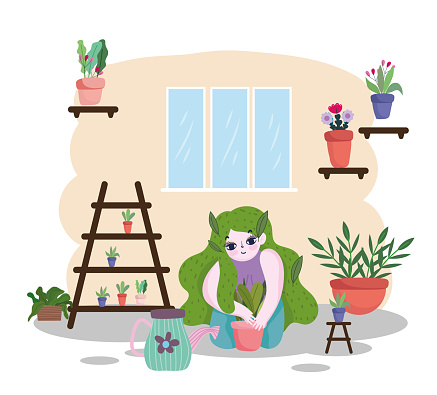 Gardening, girl with green hair planting in pot