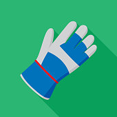 Vector illustration of a gardening glove against a green background in flat style.