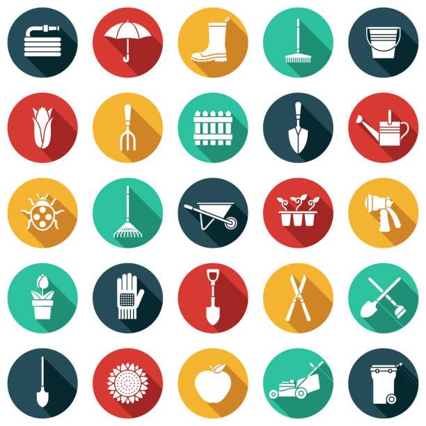 gardening glyph icon set - composting stock illustrations