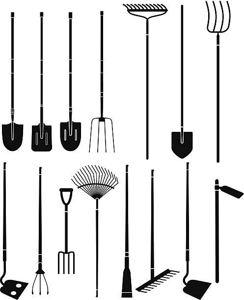 gardening hand tools Silhouette set of long handled gardening tools garden hoe stock illustrations