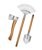 Vector gardening hand tools: rake, shovel, axe with wooden handle isolated on white background
